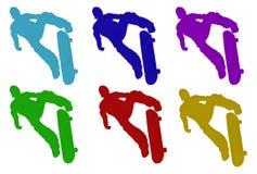 PelzSkateboardfahrer-Schattenbilder Lizenzfreie Stockbilder