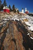 Pemaquid灯塔在冬天 免版税库存照片
