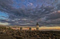 Pemaquid-Leuchtturm bei Sonnenuntergang Stockbild