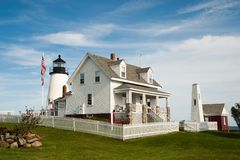 Pemaquid Light. The stately Pemaquid Point Lighthouse greets visitors to its coastal view in Bristol, Maine Royalty Free Stock Photography