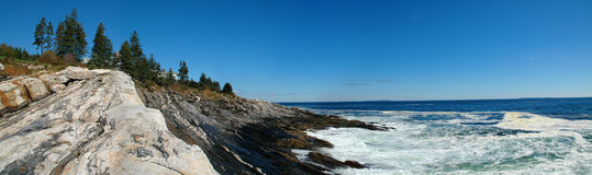 Pemaquid Point. Rocky shoreline of Pemaquid Point, Maine, USA Stock Image