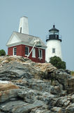Pemaquid Point Lighthouse. And outbuilding, Pemaquid Point, Maine - view from rocks below royalty free stock photo