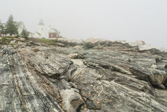Pemaquid Point Lighthouse in Fog Stock Photography