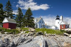 The Pemaquid Point lighthouse. The Pemaquid Point Light is a historic U.S. lighthouse located in Bristol, Lincoln County, Maine royalty free stock photos