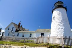 The Pemaquid Point lighthouse. The Pemaquid Point Light is a historic U.S. lighthouse located in Bristol, Lincoln County, Maine stock images