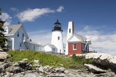 The Pemaquid Point lighthouse. The Pemaquid Point Light is a historic U. S. lighthouse located in Bristol, Lincoln County, Maine stock photos