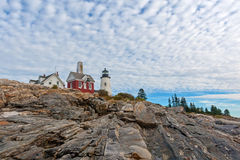 Pemaquid Point Maine lighthouse above rocks Stock Photography