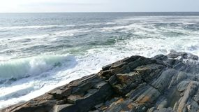 Pemaquid Point Wave Crash Stock Images