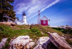 Pemaquid Punkt-Leuchtturm Stockfotos