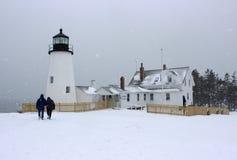 Pemaquid-Punkt-Leuchtturm im Winter lizenzfreies stockfoto
