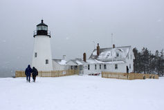 Pemaquid punktu latarnia morska w zimie zdjęcie royalty free