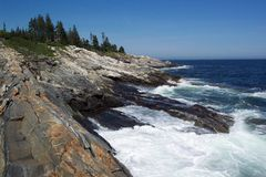 Pemaquid Rocks. Photo of rocky coast of Maine at Pemaquid Lighthouse Stock Photo