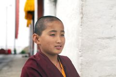 Pemayangtse修道院的和尚,锡金,印度 免版税库存照片