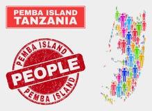 Pemba Island Map Population Demographics e selo riscado ilustração stock