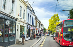 Pembridge Road at the evening time. London Royalty Free Stock Photography