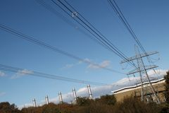 Pembroke发电站和输电线 库存图片