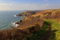 Pembroke Coastal Path et Pembroke Coast Line sauvage avec le soleil rougeoyant sur les buissons jaunes d'ajonc image stock