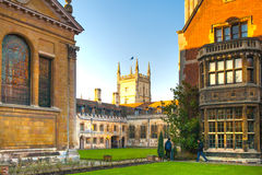 Pembroke college, university of Cambridge. The inner courtyard with church Stock Image