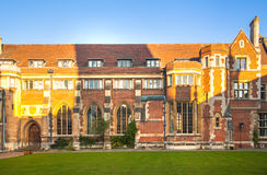 Pembroke college, university of Cambridge. The inner courtyard with church Royalty Free Stock Images
