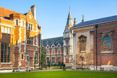 Pembroke college, university of Cambridge. The inner courtyard with church Stock Photography