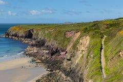 Pembrokeshire海岸道路Caerfai威尔士 免版税库存照片