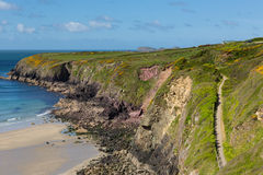 Pembrokeshire kustbana Caerfai Wales Royaltyfri Foto