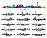 Península árabe y Asia del modelo de la ciudad geométrica del horizonte stock de ilustración