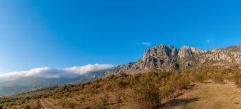 Península brillante de Demerji Crimea del panorama del otoño Fotos de archivo
