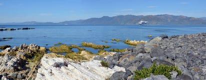 A península de Kaikoura aumentou 1 25 medidores pelo terremoto gigantesco Foto de Stock Royalty Free