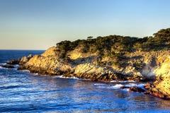Península de Lobos del punto en puesta del sol imagenes de archivo