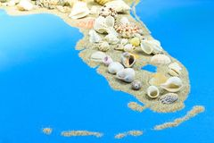 Península de Miami da areia e dos escudos imagens de stock