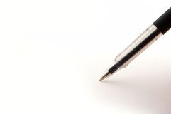 Pen. Black plastic pen isolated on white Royalty Free Stock Photo