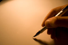 Pen. With blank paper. color from tungsten lamp Royalty Free Stock Photography