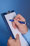 Pen. Businessman's hand  with pen Stock Photos