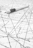 Pen with abstract plan Stock Photo