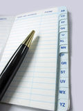Pen and Address book, contact,telephone number notebook. Things to do today Stock Images