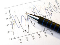 Pen against the chart Stock Photography