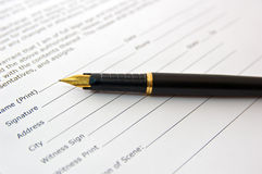 Pen on agreement Royalty Free Stock Image