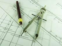 Pen & Kompas stock foto