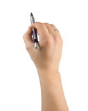 Pen And Male Hands Isolated On White Stock Image