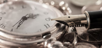 Free Pen And Pocket Watch Stock Photos - 78508823