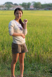 Pen arms little happy girl meadow rice field track Royalty Free Stock Image