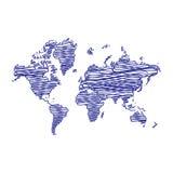 Pen art sketch, drawing, world map, illustration,  Royalty Free Stock Image