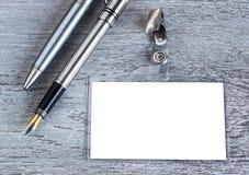 Pen, badge, blank ID card , badge Royalty Free Stock Photography