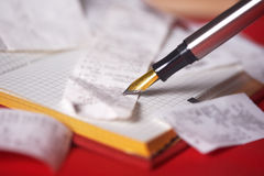 Pen and bank bills stock photography