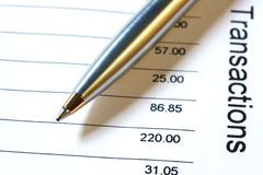 Pen on Bank Statement Royalty Free Stock Images
