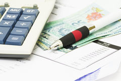 Pen on bank statement Stock Photos