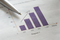 Pen on bar graph Royalty Free Stock Images