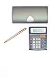 Pen with black calculator Stock Photos