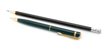 Pen and black pencil Royalty Free Stock Photo